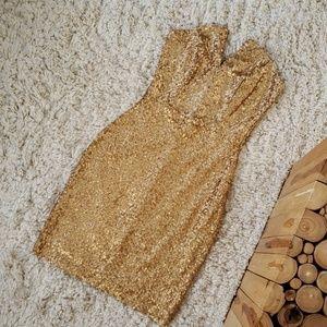 Strapless Gold Sequin Dress